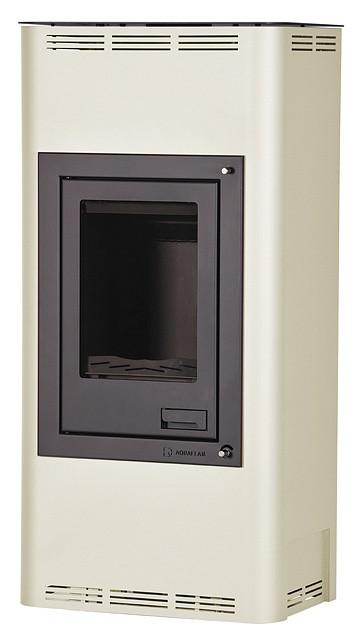 Отопительная печь-камин длительного горения AQUAFLAM 7 (водяной контур, полуавтомат, кремовый)