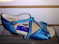 Обувь для девочек блок-каблук Success (бирюзовый сатин) (р.20,5)