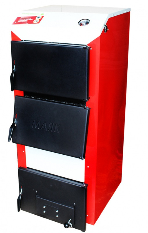 Твёрдотопливный стальной котёл 12 кВт с водоохлаждаемыми колосниками Маяк АОТ-12 Стандарт плюс