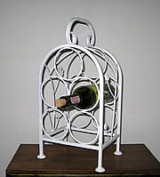 Кованая подставка для вина на 5 бутылок белая