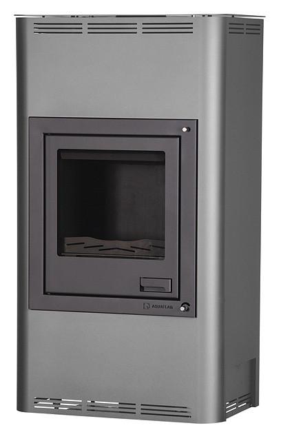 Отопительная печь-камин длительного горения AQUAFLAM 17 (водяной контур, ручная рег, серый)