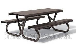 Комплект - стол для пикника антивандальный, садовый стол с лавками, открытая беседка