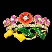 Серебряное кольцо цветной эмалью и белыми сапфирами