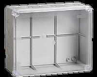 Коробка КМ41277 распаячная для о/п 240х195х165 мм IP44 (RAL7035, прозр. кр., кабельные вводы 5 шт)