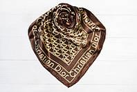 Летний брендовый логотипный отличный весенний атласный женский платок Сhristian Dior