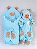 """Велюровый набор для новорожденных """"Панда"""" голубой"""