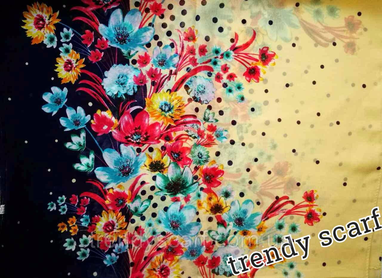 Женский Шифоновый цветной шарф бежевый синий цветы красный розовый голубой  желтый зеленый голубой 150/50