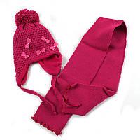 """Шапка+шарф для девочки """"Бантики"""", на флисе"""