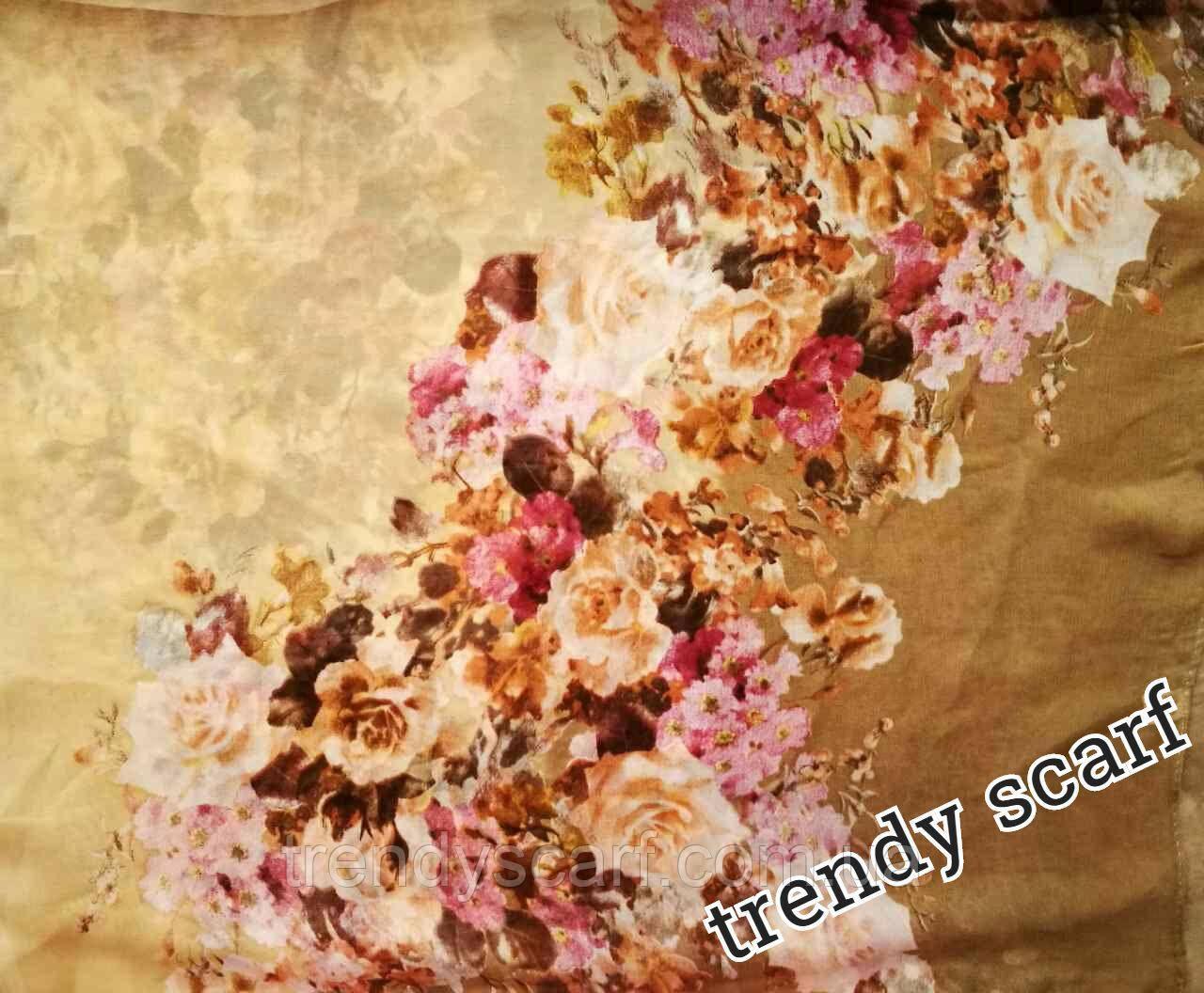Женский Шифоновый цветной шарф бежевый коричневый цветы розовый желтый бордовый150/50