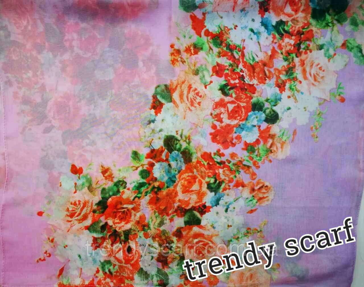 Женский Шифоновый цветной шарф сиреневый цветы красный белый розовый зеленый голубой 150/50
