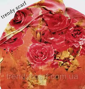 Женский Шифоновый цветной шарф красный коричневый оранжевый кирпичный цветы 150/50