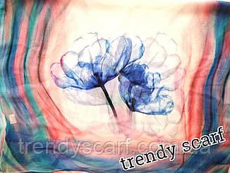Женский Шифоновый цветной шарф цветы синий красный розовый голубой белый150/50