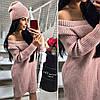 Плаття-туніка модне з шапкою в комплекті англійська в'язка різні кольори SMok1826