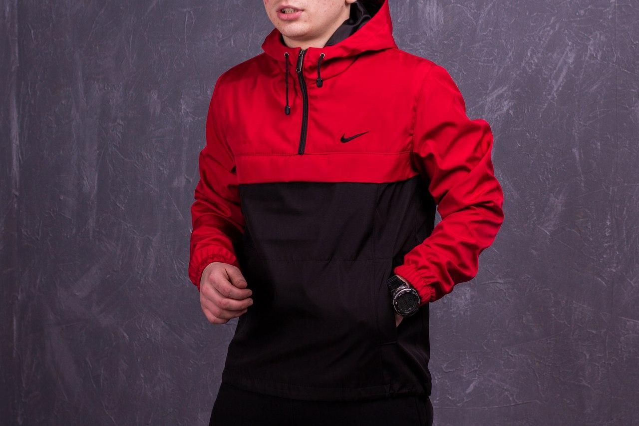 7de4f899 Черно-красный мужской анорак Nike President (куртка, ветровка) есть ОПТ -  Интернет