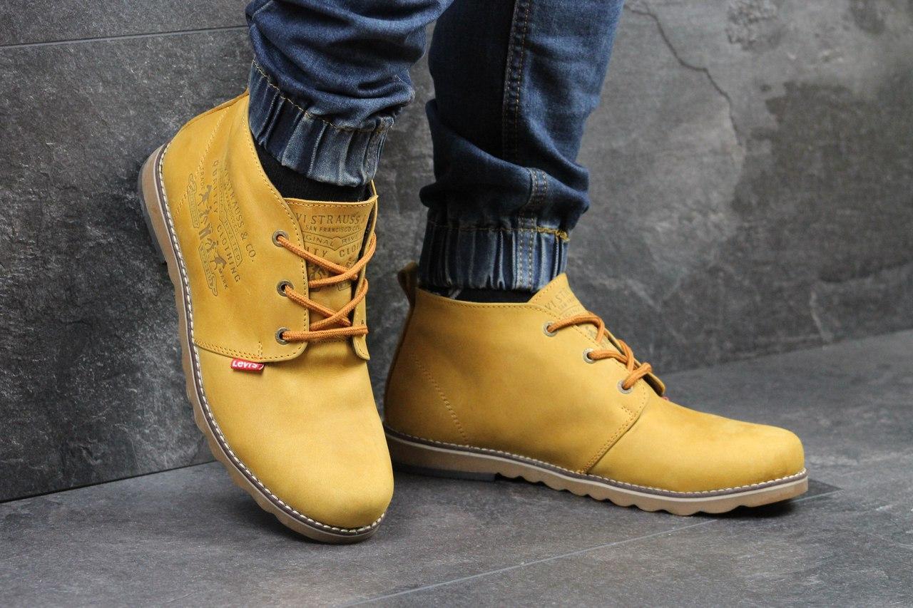 Мужские ботинки полуботинки Levis (рыжие), ТОП-реплика
