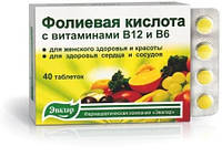Фолиевая кислота с вит. В12 и В6 Эвалар 40 табл.