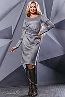 Женское платье с вышивкой, эко-замш, серое, размер 48