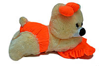 Плюшевая мишка Малышка 45 см персиковая с оранжевым, фото 1
