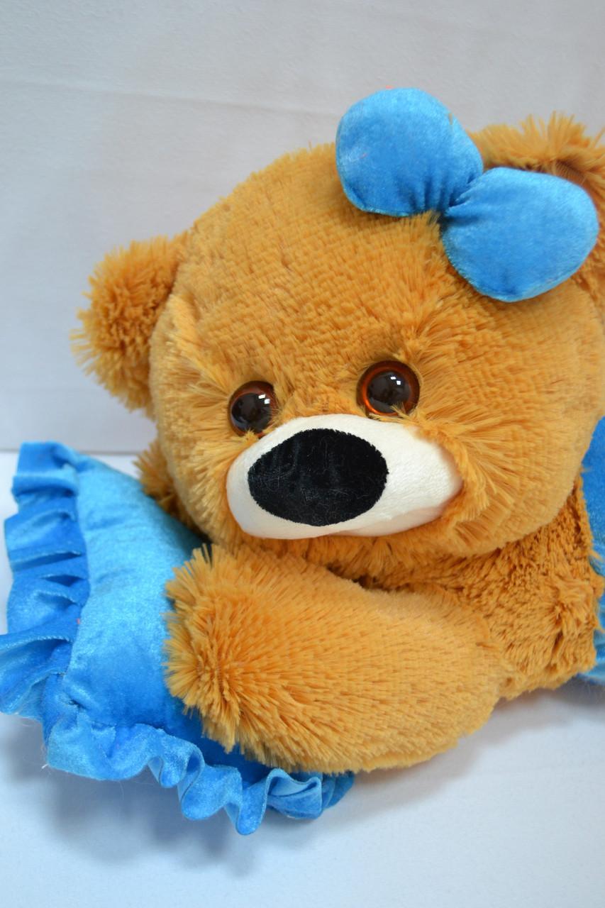 Плюшевая мишка малышка 45 см медовая с голубым, фото 1
