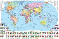 Карта Світу політична картон 22+ (шкільна) с планкою
