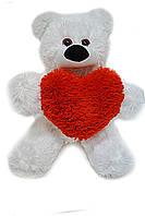 Плюшевый мишка 43 см белый с сердцем 15 см, фото 1