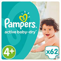 Подгузники Pampers Active Baby Maxi Plus 4+ (9-16 кг) JUMBO PACK 62 шт.