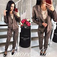 Костюм модный женский пиджак и брюки вельвет разные цвета DL691