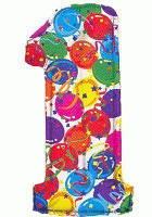 Фольгована цифра один кольорові кульки 1м.