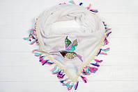 Стильный актуальный трендовый модный однотонный платок из вискозы с аппликацией