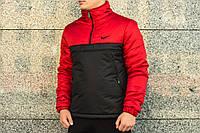 Утеплённый красно-черный мужской анорак Nike Intruder (куртка, ветровка) ОПТ и розница