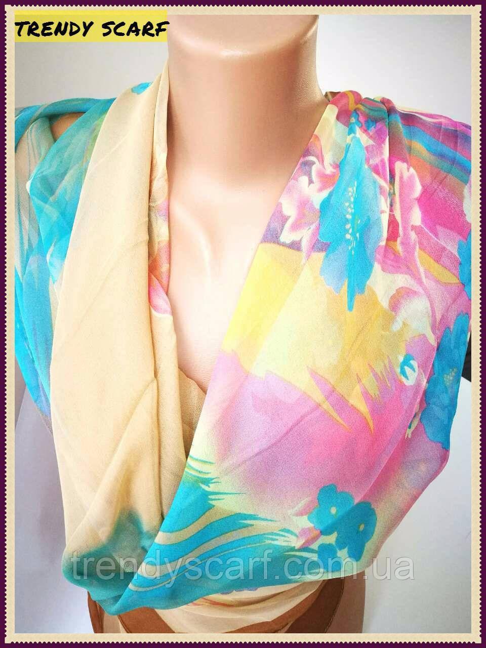 Платок женский Шифон разноцветный бежевый голубой желтый розовый цветной принт 110/110 см