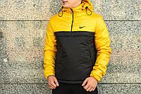 Утеплённый черно-желтый мужской анорак Nike Intruder (куртка, ветровка) ОПТ и розница, фото 1