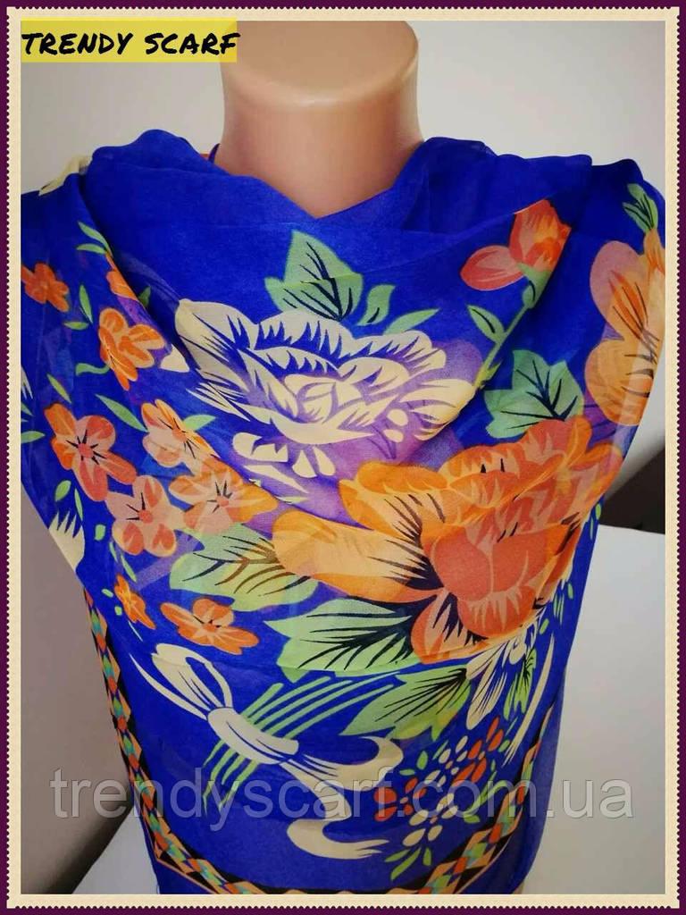 Платок женский Шифон разноцветный темно синий электрик зеленый оранжевые цветы  цветной принт 110/110 см