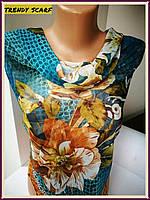 Платок женский Шифон разноцветный синий голубой коричневый оранжевый белый цветной принт 110/110 см
