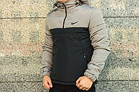 Утеплённый черно-серый мужской анорак Nike Intruder (куртка, ветровка) ОПТ и розница