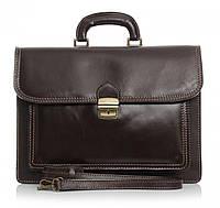 Мужской портфель из натуральной кожи, Италия, темно - коричневого цвета