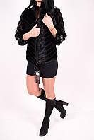 Полушубок женский из кусочков натурального меха норки (длина 60см) color 023S Snow Winning Размеры в наличии :