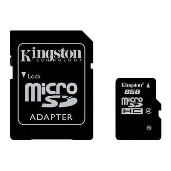 Карта памяти SD micro 8GB CLASS4 + адаптер micro SDHC D100