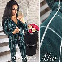 Костюм модный женский теплый в клетку пиджак и брюки трикотаж с шерстью разные цвета DL693