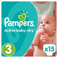 Подгузники Pampers Active Baby-Dry Midi 3 (4-9 кг) MICRO PACK, 15 шт.
