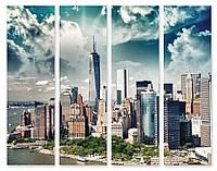 Модульная картина город и облака