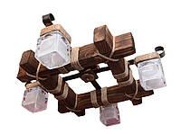 Люстра из дерева потолочная  с четырьмя стекляными матовыми плафонами Л-7
