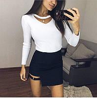 Стильная короткая женская юбка (стрейч-джинс, сбоку молния)