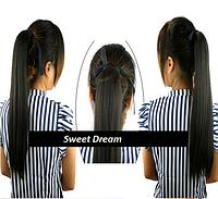 Хвост, шиньон - длинные прямые волосы, наращивание волос, цвет черный, длина - 48 см