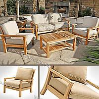 Мебель для террасы, деревянный стол с креслами и уличным диваном