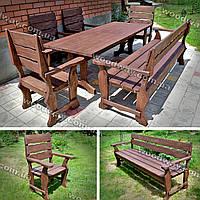 Садовая мебель из массива дерева, стол с лавками и стульями для дачи