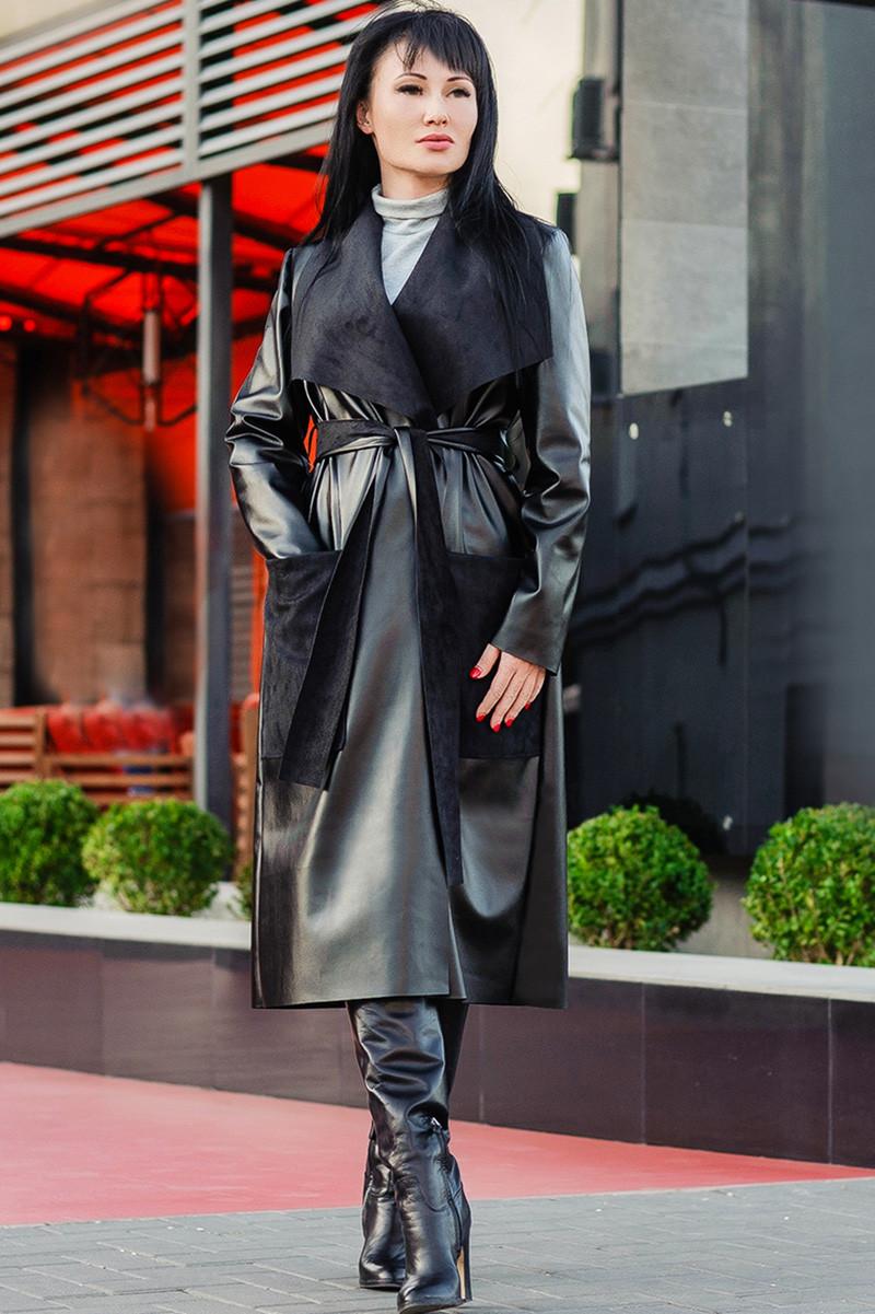 Пальто из экокожи Барселона на замше