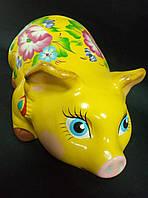 Копилка свинка расписная 14 см