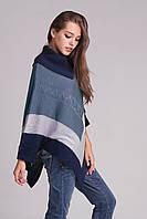 Пончо женское джинс-стальной-синий