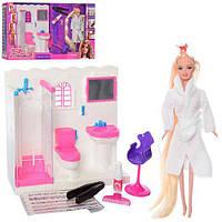Мебель 68027 (6шт) ванная комната,кукла29см(длин.волосы),краска для волос,аксесс,в кор,60-33-11см